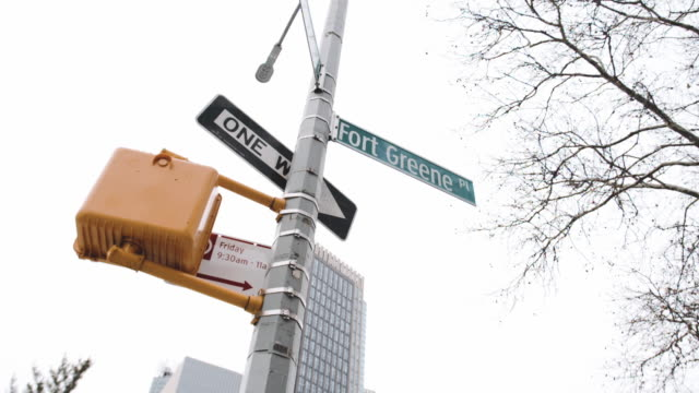 fort green street sign - brooklyn new york stock videos & royalty-free footage