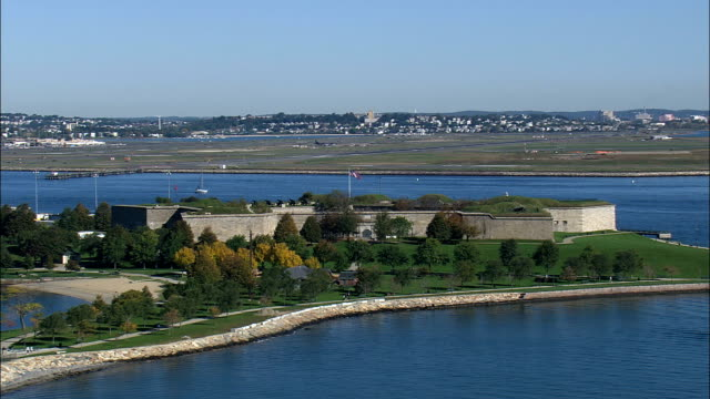 fort independence  - aerial view - massachusetts,  suffolk county,  united states - castle island stock videos & royalty-free footage