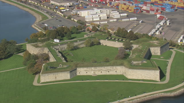 AERIAL Fort Independence on Castle Island / Boston, Massachusetts, United States