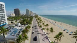 Fort Lauderdale Beach & Road Aerial Fly north