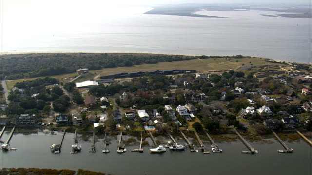 fort moultrie - aerial view - south carolina,  charleston county,  united states - floating moored platform stock videos & royalty-free footage