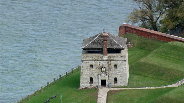 fort niagara - aerial view - new york,  niagara county,  united states - fortress stock videos & royalty-free footage