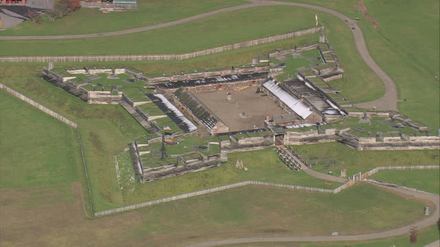 aerial fort stanwix and its grounds / rome, new york, united states - fortress stock videos & royalty-free footage