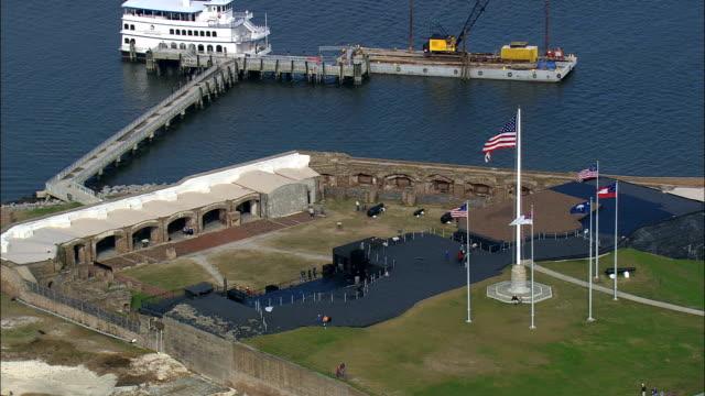 fort sumter  - aerial view - south carolina,  charleston county,  united states - south carolina stock videos & royalty-free footage