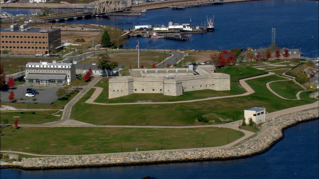 fort trumbull  - aerial view - connecticut,  united states - fort stock videos & royalty-free footage
