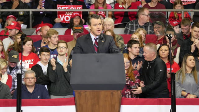 sen todd young rind speaks to encourage trump supporters to vote for members of the republican party before united states president donald j trump... - senator stock videos & royalty-free footage
