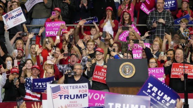 united states president donald j trump greets his supporters before he campaigns for indiana congressional candidates during a make america great... - unterstützer stock-videos und b-roll-filmmaterial