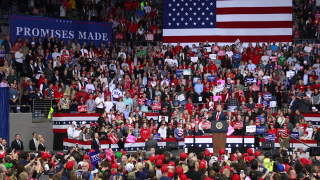 United States President Donald J Trump speaks to his supporters as he campaigns for Indiana congressional candidates during a Make America Great...