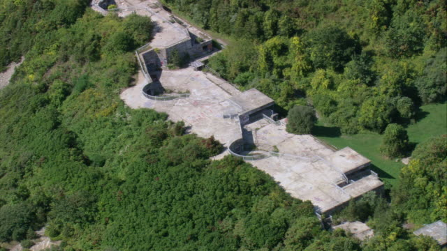 aerial fort wetherill state park / jamestown, rhode island, united states - letterbox format stock videos & royalty-free footage