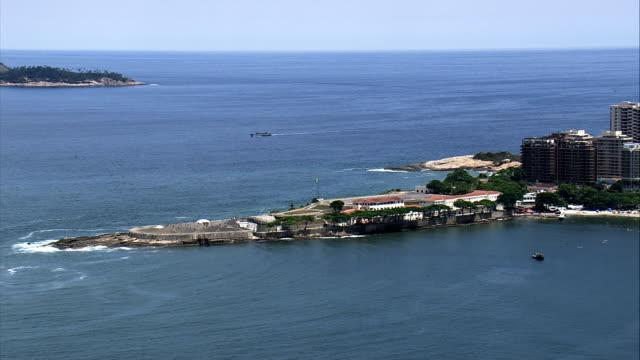forte de copacabana  - aerial view - rio de janeiro, brazil - fortress stock videos & royalty-free footage