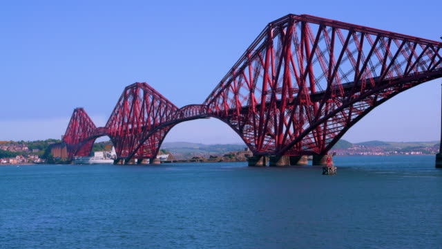 forth rail bridge & navel ship, queensferry, scotland - stainless steel stock videos & royalty-free footage