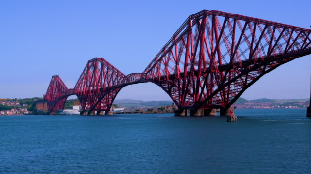 forth rail bridge & navel ship, queensferry, scotland - steel stock videos & royalty-free footage