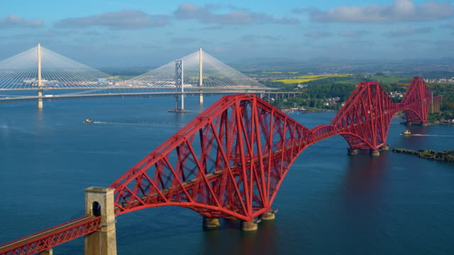forth rail & road bridges, queensferry, scotland - scotland stock videos & royalty-free footage