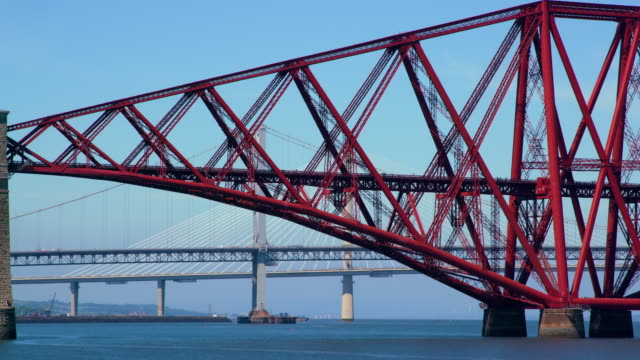 forth rail & road bridges, south queensferry, scotland - stainless steel stock videos & royalty-free footage