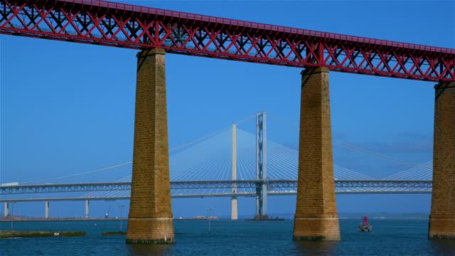 forth railway & road bridges, queensferry, scotland - scotland stock videos & royalty-free footage