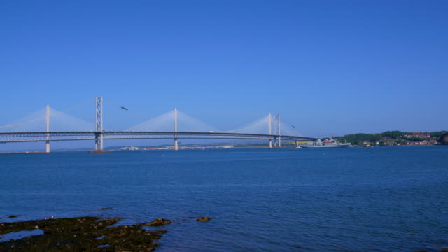 forth road bridges & navel ship, queensferry, scotland - navel stock videos & royalty-free footage