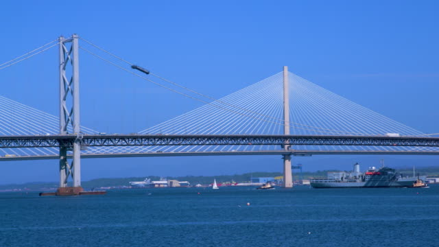 Forth Road Bridges & Navel Ship, South Queensferry, Scotland