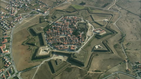 aerial ws fortified town / almeida, guarda, portugal - fortress stock videos & royalty-free footage