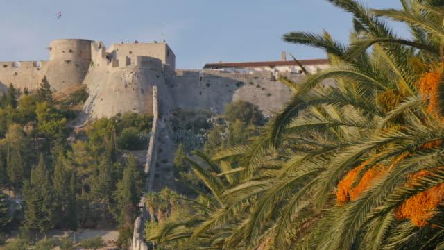 Fortress viewed from the Harbour, Hvar, Hvar Island, Dalmatia, Croatia, Europe