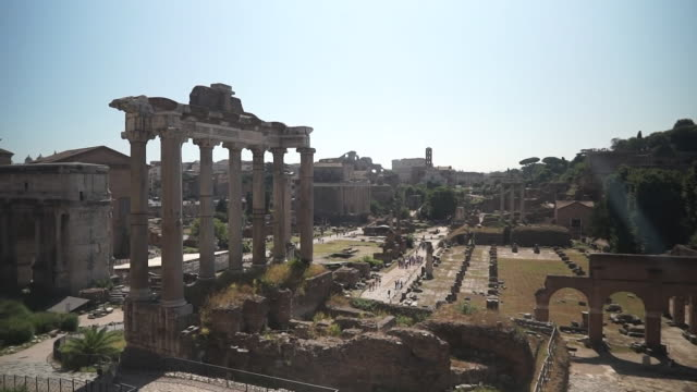 forum roman ruins in rome italy - general view stock videos & royalty-free footage