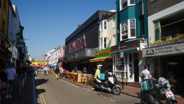 forward pov shot moving along gardner street in brighton's famous north lanes. - brighton england stock videos and b-roll footage