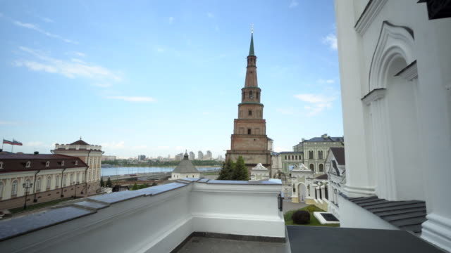 forward slow: different sites of the buildings of the area with clear skies - kazan, russia - kazan russia stock videos and b-roll footage