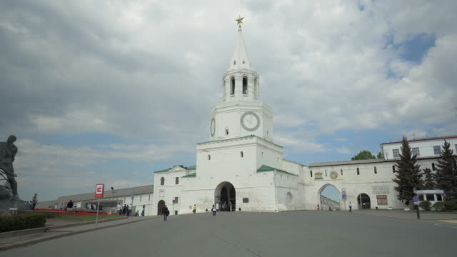 forward slow: white church standing in the midst of tourists - kazan, russia - kazan russia stock videos and b-roll footage