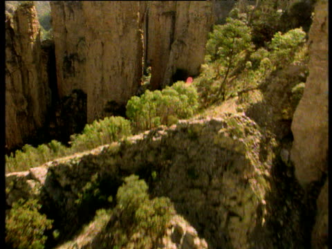 forward track over arid mexican valley with rock pillars. - 大西洋諸島点の映像素材/bロール