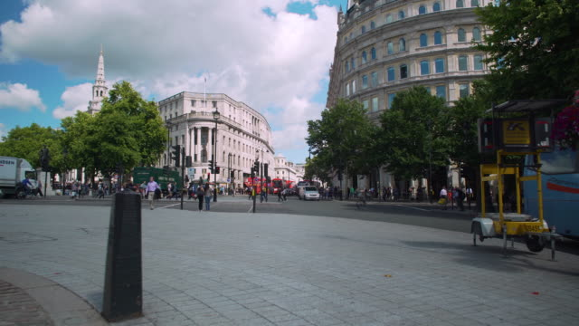 forward tracking shot from trafalgar square towards the strand. - the strand london stock videos and b-roll footage