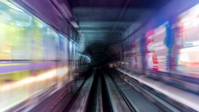 tl, ws, pov forward view from a train travelling through a tunnel at high speed /guangzhou,china - 高速列車点の映像素材/bロール