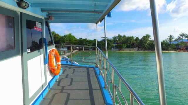 Forward: Walking To Front Of Boat Next To Dock By Ocean Shore - Ko Samui, Thailand