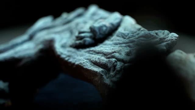 CU fossilised bone on turn table/ Muldersdrift/ South Africa