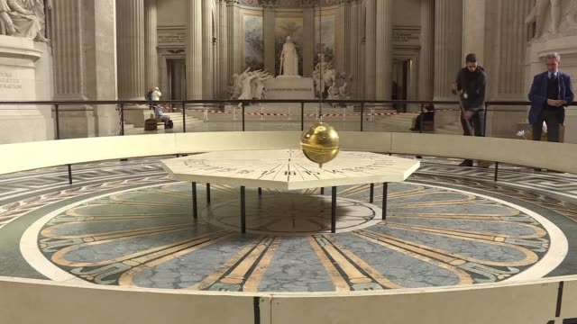 foucaults pendulum which was used to measure earths rotation in the 19th century and was made famous by writer umberto eco has been returned to its... - pantheon paris stock videos & royalty-free footage