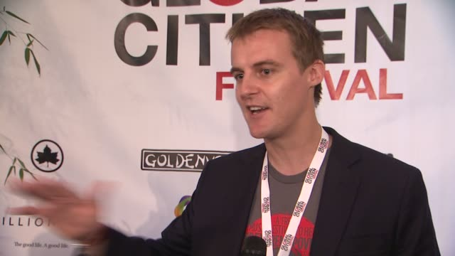 founder and ceo of global citizen hugh evans on the movement how this is just one part of it at global citizen festival in central park to end... - great lawn stock videos and b-roll footage