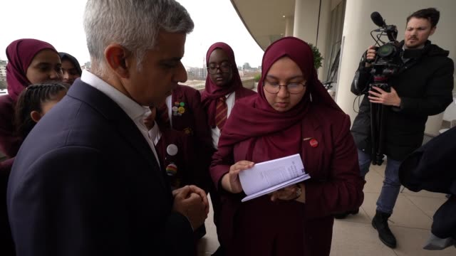 wow founder jude kelly and the mayor of london sadiq khan welcome girls from mulberry school to the southbank centre on international womens day on... - awe stock videos & royalty-free footage