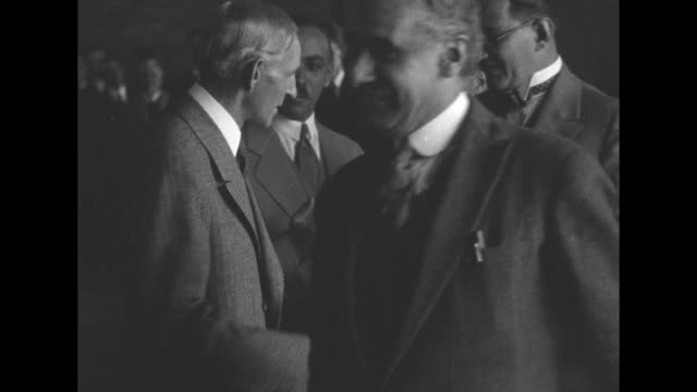 founder of ford motor company henry ford shaking hands with men walking past him in reception line as an africanamerican man at his side speaks to... - henry ford founder of ford motor company stock videos & royalty-free footage