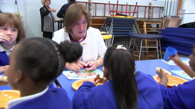 founder of magic breakfast charity wins campaigner of the year at women of the year awards; uk, london, islington, ambler primary school; children... - islington stock videos & royalty-free footage