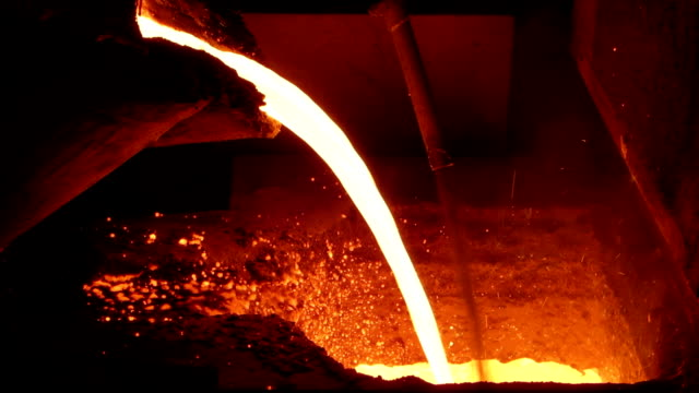foundry industry works - iron metal stock videos and b-roll footage