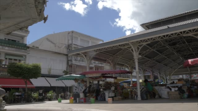 fountain and architecture in spice market square, pointe-a-pitre, guadeloupe, french antilles, west indies, caribbean, central america - figura maschile video stock e b–roll