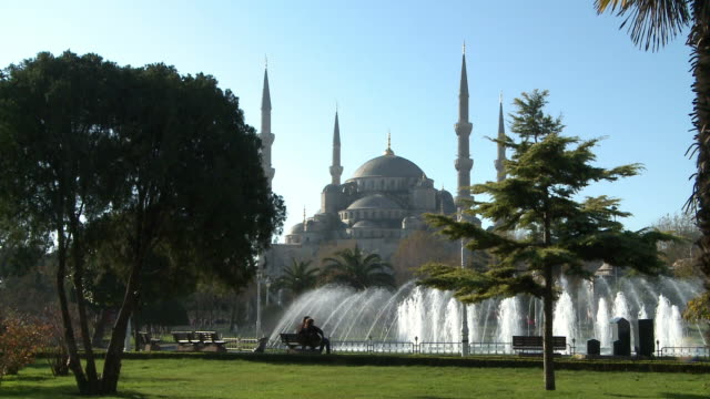 fountain and blue mosque in istanbul, turkey - sultanahmet district stock videos and b-roll footage