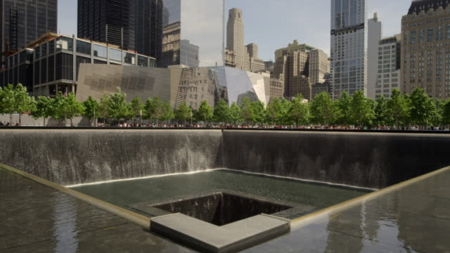 fountain at groound zero in new york city during the day. - september 11 2001 attacks stock videos & royalty-free footage