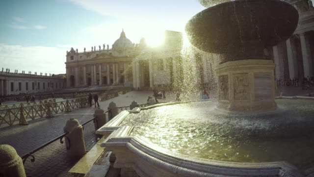 fountain at saint peter square in vatican, rome - state of the vatican city stock videos and b-roll footage