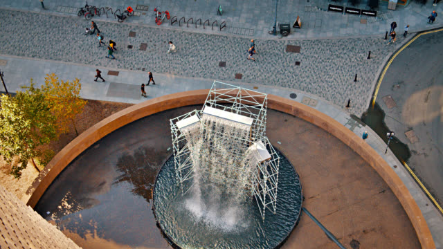 fountain at tate modern museum - art gallery stock videos & royalty-free footage