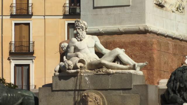 MS Fountain below statue of King Philip IV in Plaza de Oriente/ Madrid, Spain