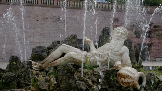 Fountain, Father Rhine at Schlossgarten of Heidelberg Castle, Heidelberg, Baden-Wurttemberg, Germany, Europe