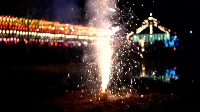 SLO MO Fountain Firework Shooting Sparks