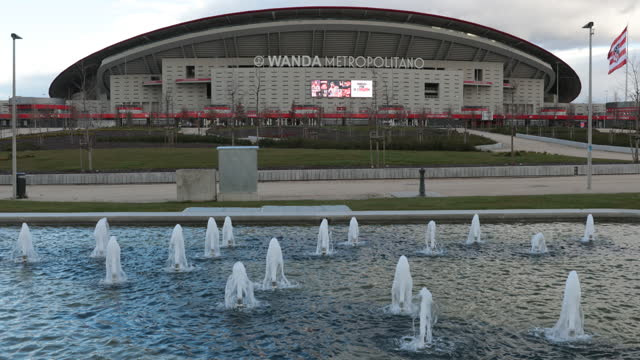 fountain flows in front of wanda metropolitano stadium before the la liga santander match between atletico de madrid and real valladolid cf at... - spring flowing water stock videos & royalty-free footage