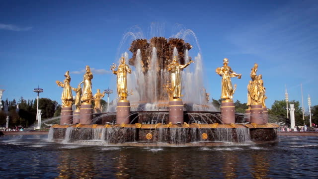 fountain friendship of nations, vdnkh - 1954 stock videos & royalty-free footage