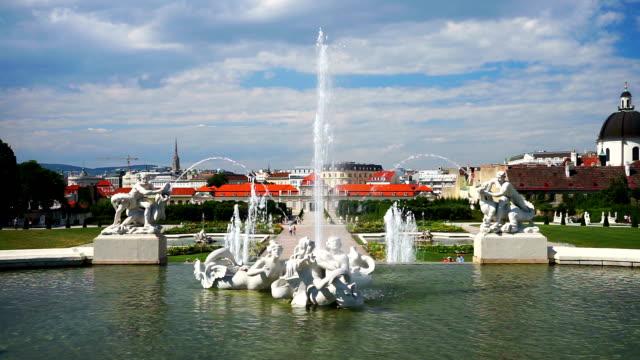 fountain in belvedere garden, vienna - belvedere palace vienna stock videos & royalty-free footage