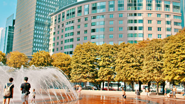 fountain in boston business downtown - high street stock videos & royalty-free footage